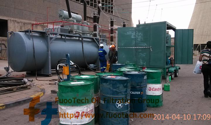 ZYD-250 (15000 LPH oil filtrtion machine) at Zimbabwe